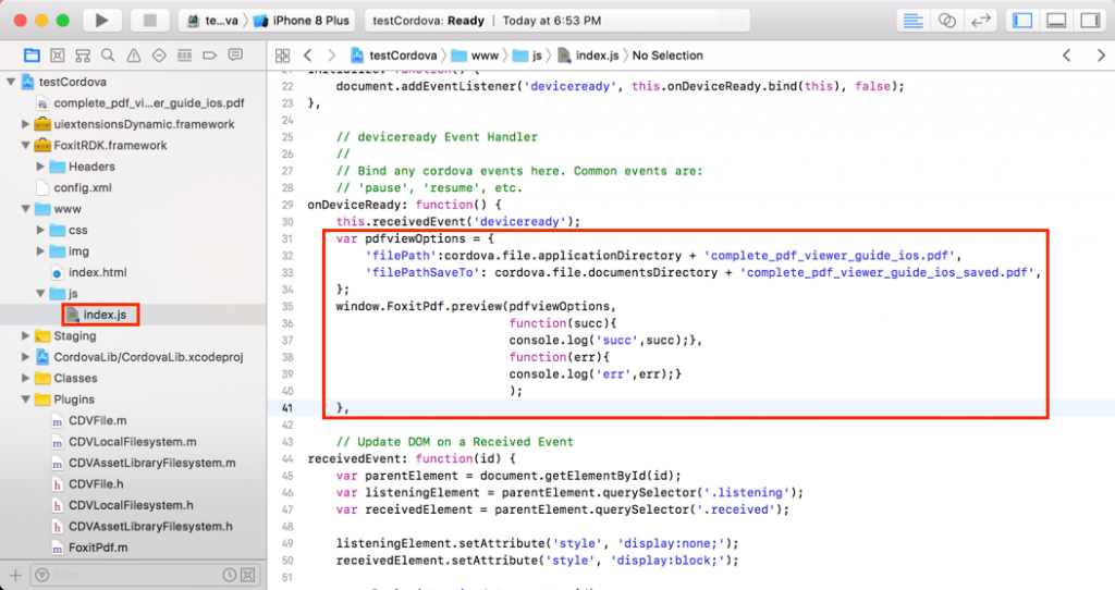 How to Implement Foxit PDF SDK for iOS using Cordova Plugin